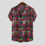 New Men Animal Ethnic Pattern Print Short Sleeve Shirts