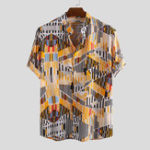 New Mens Ethnic Style Stripe Printed Half Sleeve Casual Shirts