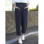 New Women Pure Color Cotton Elastic Waist Harlan Pants