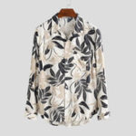 New Men Leaf Floral Print Long Sleeve Relaxed Shirts