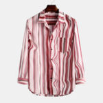 New Mens Vintage Stripe Practical Pocket Turn Down Collar Shirts