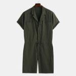 New Mens Fashion 100% Cotton Solid Color Big Pocket Casual Pants
