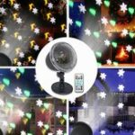New 4 LED Projection Stage Light Outdoor Christmas Mini Snowflake Lamp with Remote Control for Party Festival