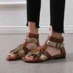 New Women Fashion Comfy Tassel Buckle Zipper Sandals