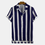 New Mens Stripe Printing Turn Down Collar Casual Shirts