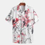 New Men Oriental Plum Blossom Print Short Sleeve Shirts