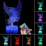 New 3D Night Light  Remote Control Home Decor Table Bedroom Sleeping Lamp Kid Gifts