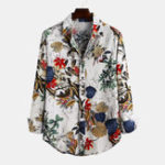 New Mens Fashion Flax Leaves Floral Printed Long Sleeve Shirts