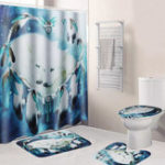 New B68916 White Wolf Dream Catcher Bathroom Shower Curtain Lid Toilet Mat Cover Bath Floor Mat