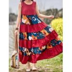 New Vintage Sleeveless O-neck Loose Swing Floral Maxi Dress