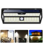 New 132 LED Solar Wall Light 4 Side Motion Sensor IP65 Outdoor Yard Garden LED Lamp