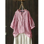 New Women Striped Casual Women Buttons Puff Sleeve Blouse