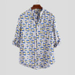 New Mens Summer Plaid Printed Stand Collar Breathable Shirts