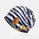 New Women Cotton Striped Print Pattern Dual-Use Hat