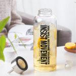 New Large Capacity Transparent Glass Water Bottle Office Travel Mug Tea Infuser