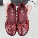 New Women Leather Floral Hollow Out Breathable Flats