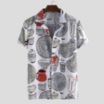 New Men Cartoon Kitchenware Print Short Sleeve Shirts
