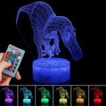 New 3D Illusion Dinosaur Night Light Touch RemoteEControl Home Decor Lamp Table Gift