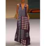 New Women Vintage Cotton Print V-Neck Sleeveless Maxi Dress