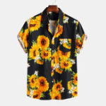 New Mens Sunflower Printed 100% Cotton Fit Loose Causal Shirts
