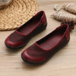 New Women Casual Soft Leather Stitching Slip On Flats