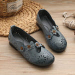 New Women Casual  Retro Flowers Hollow Out Flats