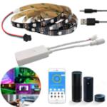 New Non-waterproof WS2812 1M/2M Smart LED Strip Light+DC5-24V SP501E Controller Work White Alexa Google Assistant