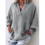 New Women Casual V Neck Pocket Long Sleeve Solid Blouse
