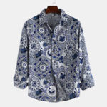 New Men Blue and White Porcelain Print Long Sleeve Shirts