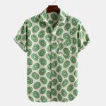 New Mens Summer Avocado Printed Breathable Shirts