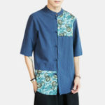 New Mens National Style Linen Printed Short Sleeve Casual Shirts