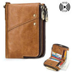 New Men RFID Blocking Genuine Leather Wallet Clip Zip Short Purse Coins Card Holder Bag