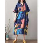New Half Sleeve V-neck Floral Print Mid-long Dress