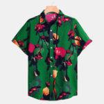 New Men Kapok Print Short Sleeve Relaxed Shirts