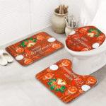 New 3pcs Bathroom Rug Mats Set Christmas Decoration Anti-slip Toilet Rug Floor Mat
