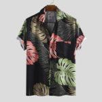 New Men Monstera Print Short Sleeve Hawaiian Shirts