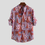 New Men Geometry Print Half Sleeve Relaxed Shirts
