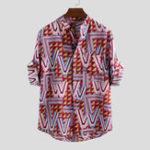 New Men Geometry Print Half Sleeve Relaxed Shirts
