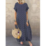 New Women Polka Dot Print O-neck Short Sleeve Maxi Dress