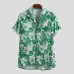 New Mens Summer Floral Printed Chest Pocket Short Sleeve Casual