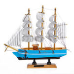 New 10 LEDs Wood Sailing Boats Ship Model Wooden Craft Sailor Handcrafted Boat Home Decoration