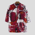 New Mens 100% Cotton Printed Practical Pocket Long Sleeve Shirts