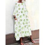 New Women 3/4 Sleeve Crewneck Loose Casual Maxi Dress