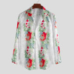 New Mens Fashion Fish Printed Turn Down Collar Long Sleeve Shirt