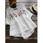 New Women Half Sleeve Button Floral Embroidery Vintage Blouse