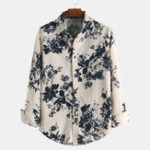 New Men Cotton Printed Spring Long Sleeve Turn Down Collar