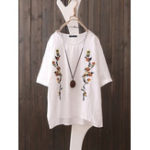 New Short Sleeve O-neck Floral Embroidery Vintage Blouse