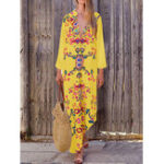 New Bohemian Women Floral Print V-neck Long Maxi Dress