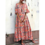 New Bohemian Women Loose Floral Print Side Pockets Dress