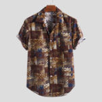 New Mens Summer Plaid Printed 100% Cotton Short Sleeve Shirts